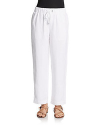 Linen Drawstring Ankle Pants