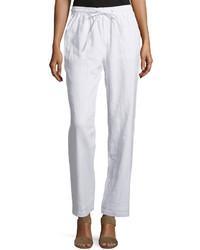 Neiman Marcus Linen Straight Leg Drawstring Pants Simply White