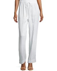 Neiman Marcus Wide Leg Drawstring Linen Pants White