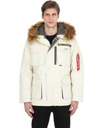 Alpha industries mountain cotton parka with faux fur medium 748068