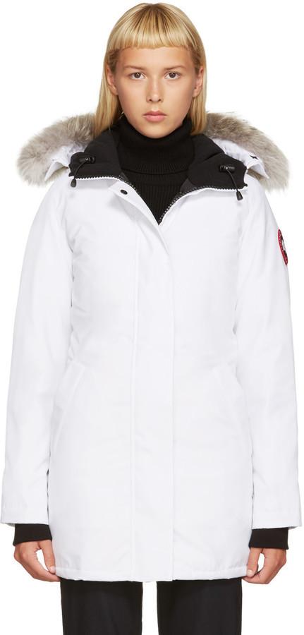 77f115b347a $850, Canada Goose White Down Victoria Parka