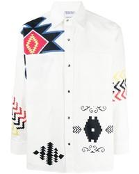 Marcelo Burlon County of Milan Patchwork Folk Cott Ls Shirt White Multi