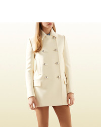 Gucci White Wool Peacoat With Contrast Lining