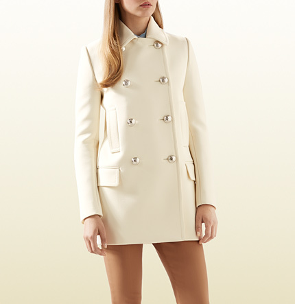 Gucci White Wool Peacoat With Contrast Lining | Where to buy & how ...