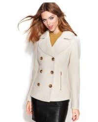 Guess Coat Double Breasted Textured Pea Coat