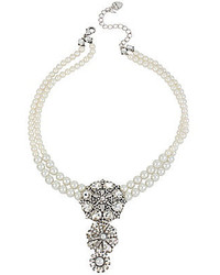 Betsey Johnson Crystal Frontal Faux Pearl Necklace