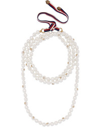 Gucci Faux Pearl And Gold Tone Necklace Ivory