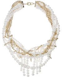 Sam Edelman Gold Tone Chain Pearl Collar Necklace