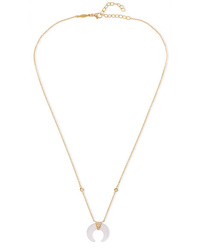 Jacquie Aiche Mini Double Horn 14 Karat Gold Chalcedony And Diamond Necklace