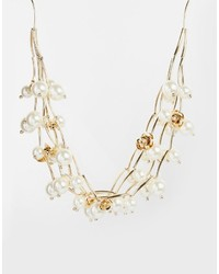 Oasis Oversize Faux Pearl Flower Necklace