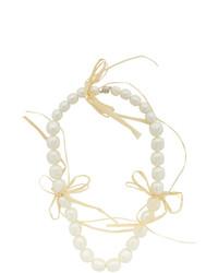Simone Rocha Off White Pearl And Raffia Necklace