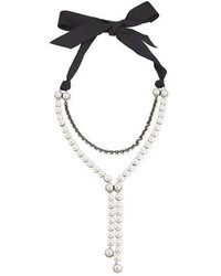Lanvin Pearly Bow Tie Y Drop Necklace