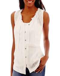 jcpenney Ana Ana Sleeveless Ruffle Neck Button Front Peasant Top