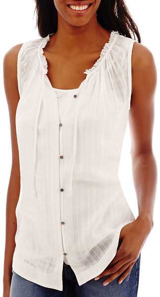 98390d272d43 ... Blouses jcpenney Ana Ana Sleeveless Ruffle Neck Button Front Peasant Top  ...