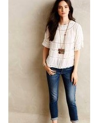Anthropologie Love Sam Pintuck Peasant Blouse