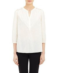 Barneys New York Crochet Detail Peasant Blouse Ivory Size S