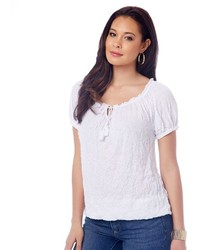 Daisy Fuentes Crinkle Peasant Top