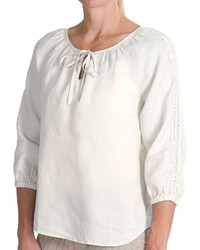 Dylan Crochet Trim Peasant Blouse Hemp 34 Sleeve