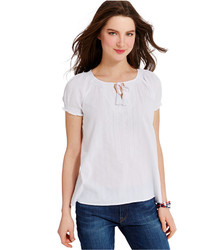Tommy Hilfiger Embroidered Gauze Tie Neck Peasant Top