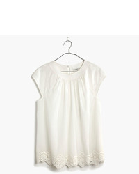 Madewell Eyelet Hem Stitched Peasant Top