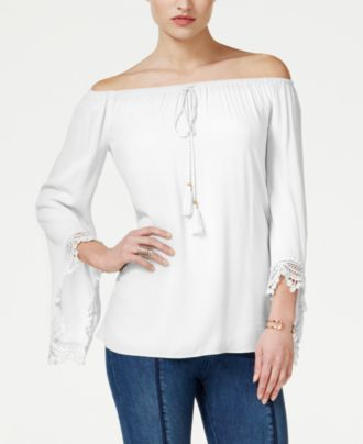 Guess Giselle Off The Shoulder Peasant Top Where To Buy How To Wear