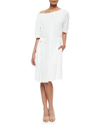 L'Agence Charlotte Shirred Tie Waist Dress Coconut