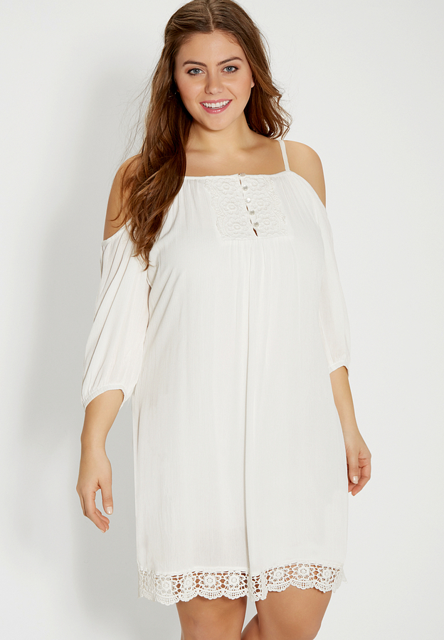 $54, Maurices Plus Size Peasant Dress With Lace And Cold Shoulder Sleeves