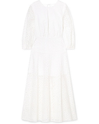 Les Rêveries Open Back Broderie Anglaise Cotton Midi Dress