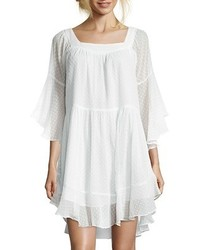 Wyatt White Dotted Chiffon Flared Peasant Dress