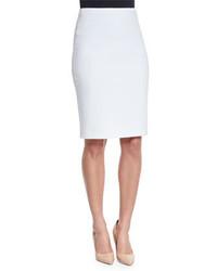 Armani Collezioni Ribbed Jersey Knit Pencil Skirt Off White