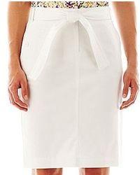Liz Claiborne Belted Sateen Skirt