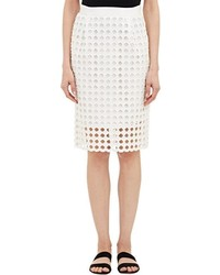 Sea Eyelet Pencil Skirt White