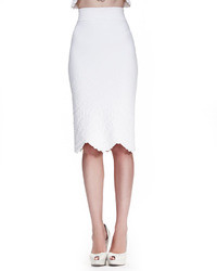 Alexander McQueen High Waist Embossed Pencil Skirt White