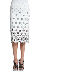 Marc Jacobs Laser Cut Gabardine Pencil Skirt White