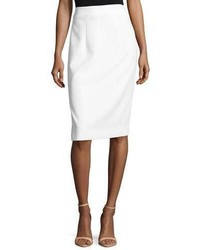 Milly Italian Cady Pencil Skirt White