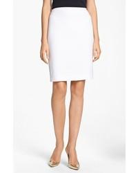 St. John Collection Crepe Marocain Pencil Skirt Bright White 2