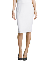 St. John Pull On Knit Pencil Skirt Bright White