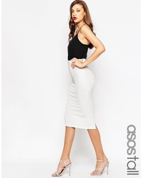 Asos Tall Midi Pencil Skirt In Heavy Rib