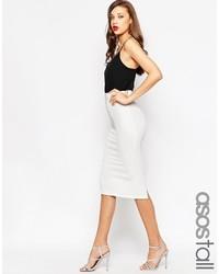 Asos Tall Midi Pencil Skirt In Heavy Rib