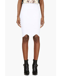 Alexander McQueen White Embossed Stretch Pencil Skirt