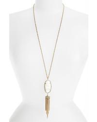 Kendra Scott Rayne Stone Tassel Pendant Necklace White Mother Of Pearl