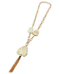 Panacea Genuine White Howlite Stone Pendant Necklace With Tassel