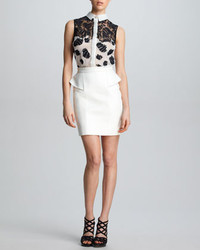 Jason Wu Leather Peplum Skirt White