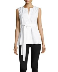Desza stretch cotton belted peplum top medium 5053785