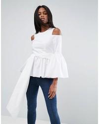 Asos Premium Cotton Top With Peplum And Sleeve Drama