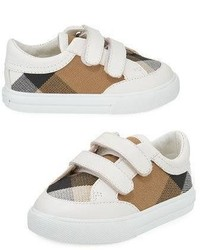 Burberry Heacham Check Canvas Sneaker Whitetan Infant