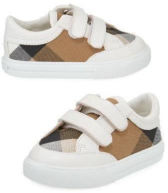 Burberry Heacham Check Canvas Sneaker Whitetan Infant