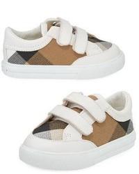 Burberry Heacham Check Canvas Sneaker Whitetan Newborn