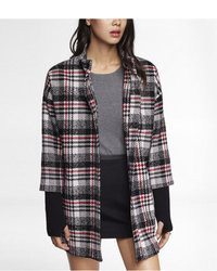 Express Plaid Ribbed Knit Sleeve Cocoon Coat