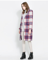 Zara checked coat medium 6914